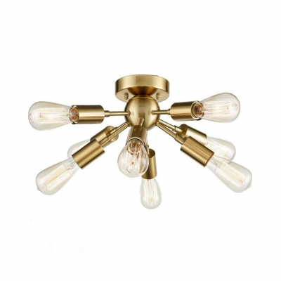 Sputnik Semi Flush Mount Light with Open Bulb 8 Lights Mid Century Modern Gold/Nickel Ceiling Light