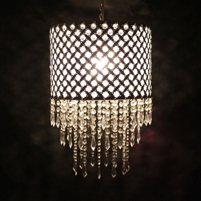 White Drum Pendant Lighting With Clear Crystal Decoration Single Head