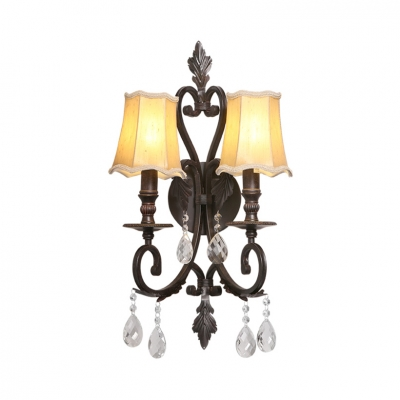 2 Lights Tapered Sconce Traditional Metal Wall Light Fixture with Clear Crystal in Bronze