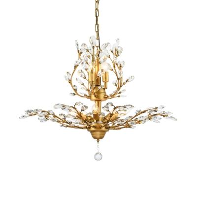 Metal Hanging Light Fixtures with Clear Crystal Decoration 7/8 Lights Vintage Adjustable Chandelier in Black/Gold