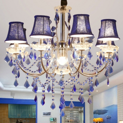Living Room Candle Chandelier Metal Height Adjustable Antique Chandelier Light with Blue Crystal and 12