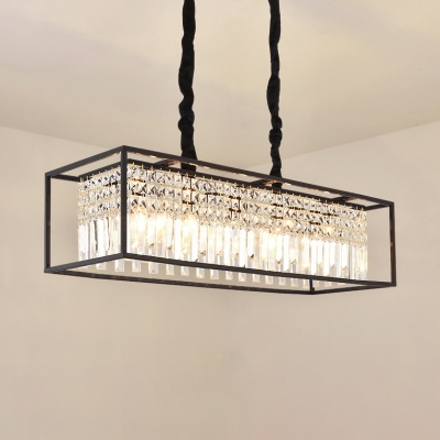Rectangle Living Room Chandelier Metal 5 Lights Vintage Chandelier Light with Clear Crystal in Black/Gold