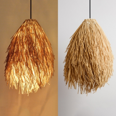 Hand Knitted Rattan Suspension Pendant Rustic Style Single Pendant Lamp in Beige, 21.5