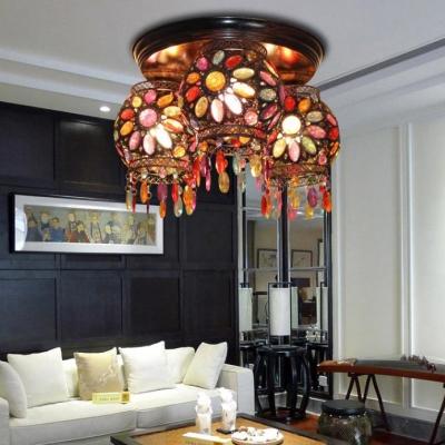 Bohemia Dome/Globe Semi Flush Light Colorful Crystal 3 Heads Ceiling Lamp for Coffee Shop