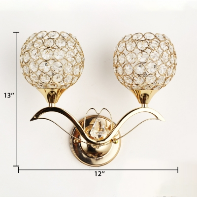 Clear Crystal Globe Shade Wall Mounted Lighting 2-Light Antique Style Sconce Light for Bedroom