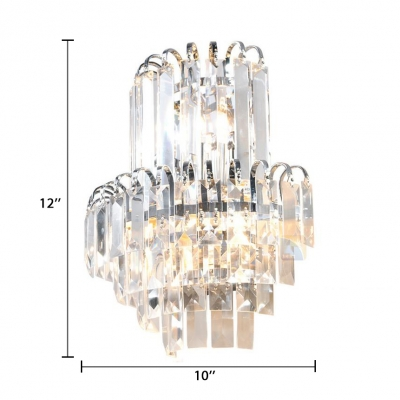 Clear Crystal Wall Mount Light Fixture for Hallway 3 Lights Vintage Style Sconce Lighting