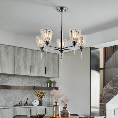Contemporary Clear Crystal Hanging Chandelier 3/5/8 Lights Nickle Ceiling Pendant for Living Room