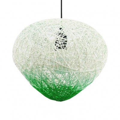 Hand Knitted Globe Pendant Light 1 Light Rustic Hanging Light in Green/Red with 47