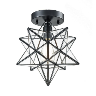 Modern Star Semi Flush Mount 1 Light Clear Glass Ceiling Light For