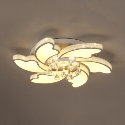 Modern White LED Ceiling Lamp with Petal Design and Clear Crystal Acrylic Flush Light for Hallway