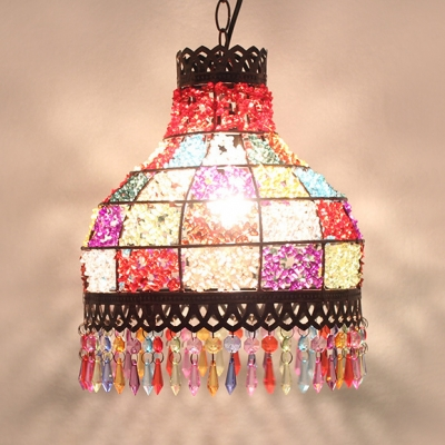 Multi Color Pendant Lamp Single Light Traditional Crystal Hanging Light for Dinging Room