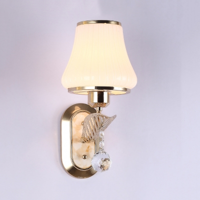 Opal Glass Tapered Wall Light Fixture with Clear Crystal 1/2-Light Vintage Style Sconce Lighting
