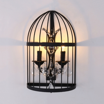 Restaurant Candle Sconce Light with Clear Crystal and Bird Cage Vintage Style Black/Rust Wall Lighting Fixture
