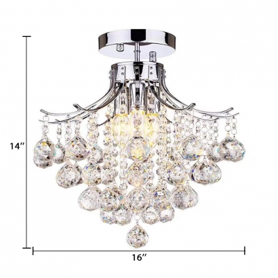 Semi Flush Light with Clear Crystal Ball 3 Lights Vintage Style Ceiling Lighting in Chrome
