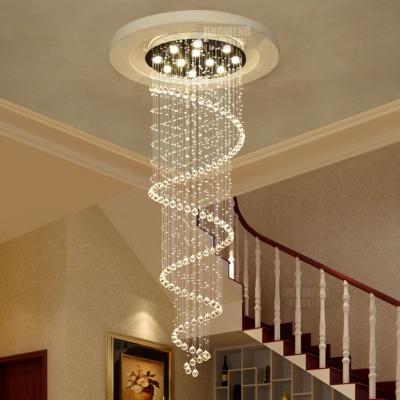 Spiral Flush Ceiling Living Room 1/3/5/6 Lights Modern Chandelier in Polished Chrome