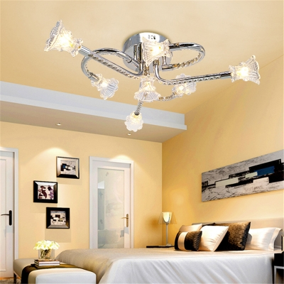Twist Arm LED Semi Flush Light Bedroom 6 Lights Contemporary Ceiling Lamp with Clear Crystal in Chrome