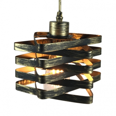 Vintage Square Ceiling Hanging Metal Single Light Gold/Rust LED Pendent Light with 39