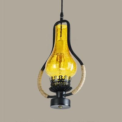 Single Light Pendant Ceiling Light Vintage Metal and Rope Pendant Light for Kitchen