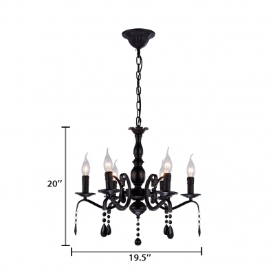 6 Lights Candle Pendant Lighting with Black Crystal and Hanging Chain Traditional Metal Chandelier