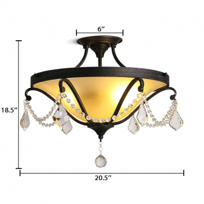 Antique Bowl Semi-Flush Mount Light Metal 3 Lights Black Ceiling Lamp with Clear Crystal for Bedroom