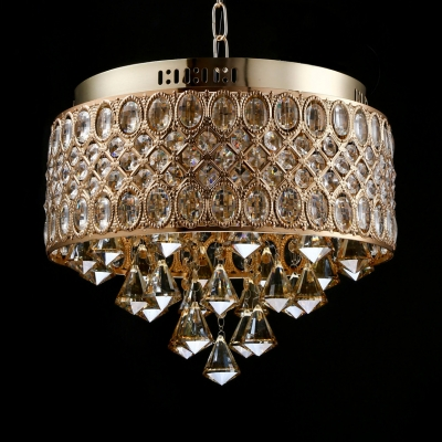 Bedroom Round Canopy Adjustable Chandelier Clear Gold/Silver Crystal Modern Light Fixture with 12