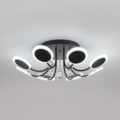 Black Bedroom Light Fixture with Clear Crystal Acrylic Traditional LED Semi Flush Mount Lighting