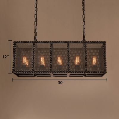 Black Rectangle Island Lamp Rustic Metal Island Pendants with 25.5