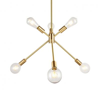 inspiring mid century hanging light bedroom | Brass Sputnik Chandelier 6 Lights Mid Century Metal ...