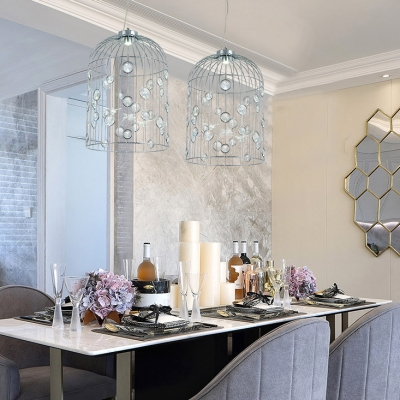 Cage Living Room Chandelier with Adjustable Cord Metallic 1 Light Classic Light Fixture in Gold/Silver