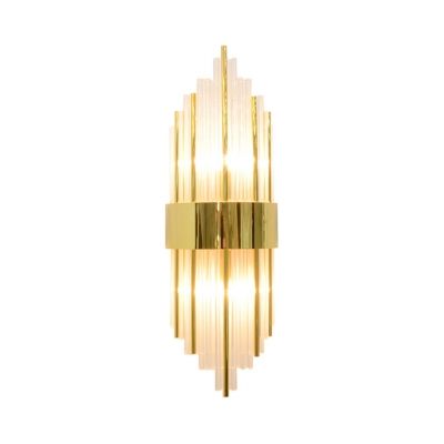Clear Crystal Cylindrical Wall Sconce 2 Lights Modern Sconce in Gold/Aged Brass/Black/Rose Gold