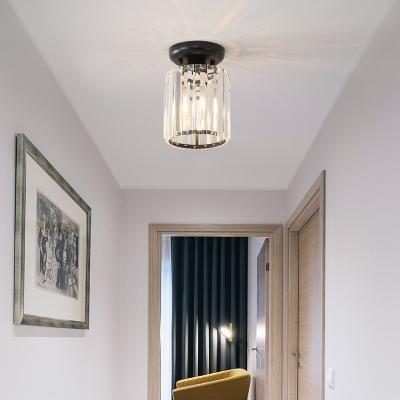 Clear Crystal Mini Semi Flush Mount Lighting Single Light Modern Style Ceiling Light Fixture for Hallway