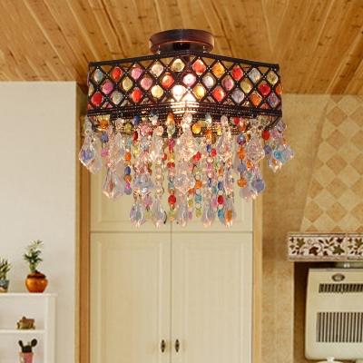 Colorful Crystal Polygon Ceiling Light Single Light Vintage Semi Flush Mount Light for Coffee Shop