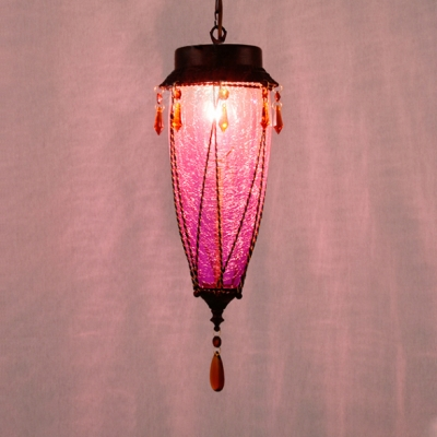 Curved Pendant Light Fixture 1 Light Antique Glass Hanging Light with Crystal for Kitchen
