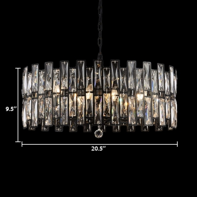 Drum Pendant Lamp Living Room 3/5/7 Lights Contemporary Clear Crystal Hanging Ceiling Lamp