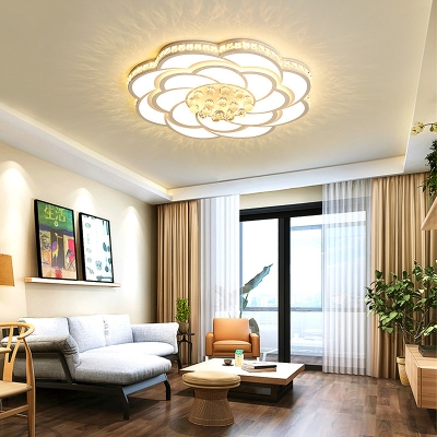 Flower Living Room Flush Light Acrylic Contemporary LED Ceiling Lamp with Clear Crystal in White