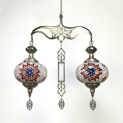 Lantern Living Room Chandelier Mosaic 2 Lights Moroccan Pendant Lamp in Blue/Red