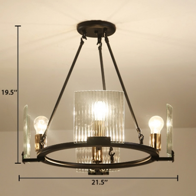 Living Room Ring Hanging Lamp Clear Crystal Contemporary Black Chandelier