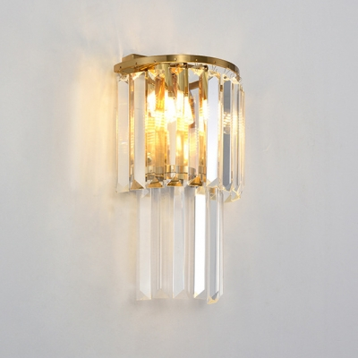 Living Room Semi-Circle Sconce Clear Crystal Modern 3/6/9 Lights Gold Wall Light for Bathroom