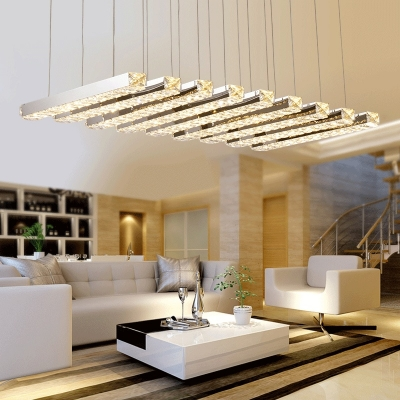 Metal Linear Hanging Light LED Contemporary Pendant Lighting in Chrome for Bedroom