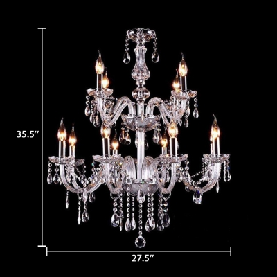 Modern Chrome Chandelier with Candle 12/15/18 Lights Clear Crystal Pendant Lighting with 12