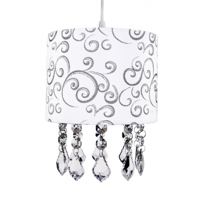 Modern Drum Chandelier Clear Crystal 1 Light White Light Fixture with 43