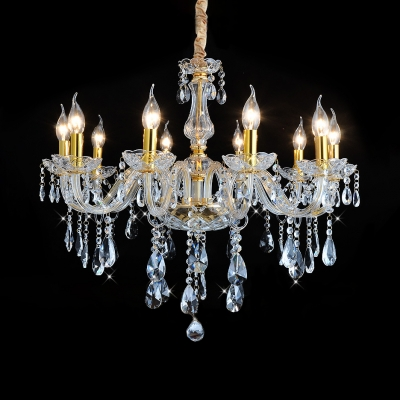Modern Height Adjustable Candle Chandelier 3/4/5/6/8/10 Lights Clear Crystal Light Fixture in Brass