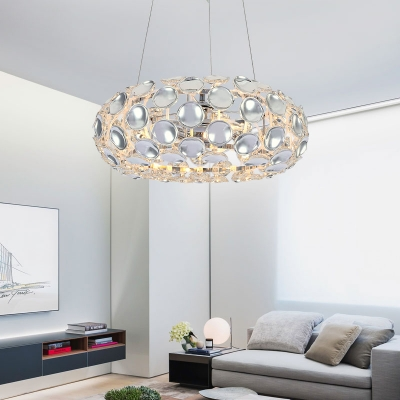 Modern Oval Pendant Lights with Adjustable Cord 3 Lights Clear Crystal Chandelier in Silver/Gold