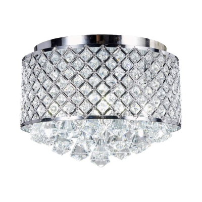 Modern Style Drum Ceiling Lighting 3/4 Lights Clear Crystal Flush Mount Light Fixture in Chrome