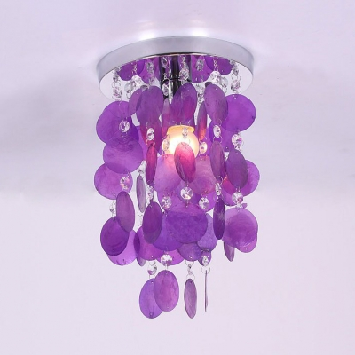 Multicolor Flush Mount Light Single Light Modern Style Shell Ceiling Lighting with Clear Crystal Beads for Bedroom