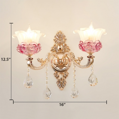 Traditional Flower Sconce Light 1/2 Lights Clear Crystal Wall Lamp in Gold for Bedroom