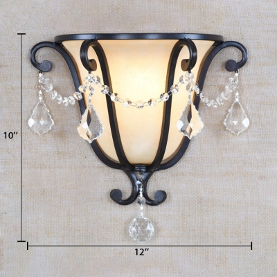 Traditional Tapered Wall Light Metal 1 Light Black Wall Lamp with Clear Crystal Decoration for Foyer