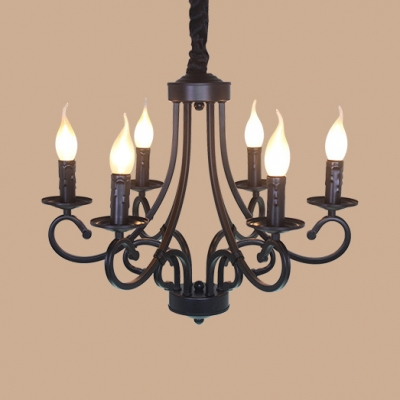Vintage Black Hanging Chandelier With Candle And Chain 6 8 Lights