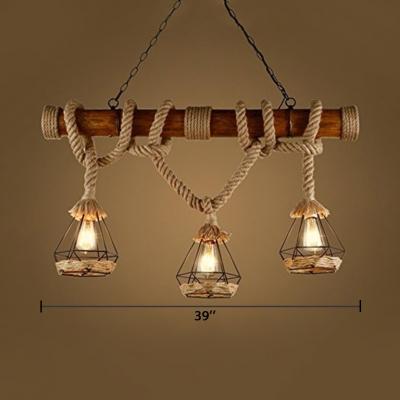 Vintage Cone Island Lamps Metal 3 Lights Black Length Adjustable Pendant Lights with 39