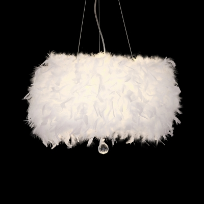 Vintage White Height Adjustable Chandelier with Drum 3 Lights Clear Crystal and Feather Light Fixture with 53